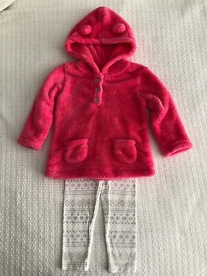 Carters Girls 18 Month Pink Fleece Hooded Shirt White Leggings Outfit EUC Winter