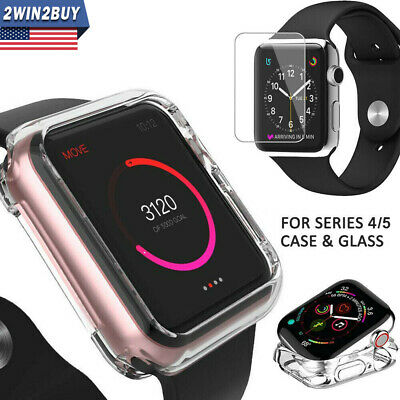 Fr Apple Watch iWatch Series 4 Silicone Clear Case Cover+ Tempered Glass 40/44MM