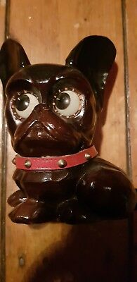 Collectable antique vintage Oswald German clock. Rolling eyes french bull dog.