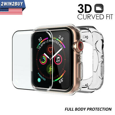 Fr Apple Watch iWatch Series 5/4 Clear Case Cover+ Curved Tempered Glass 40&44MM