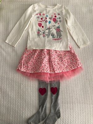 Gymboree Girls 3T Long Sleeve Party Shirt Pink Tutu Skirt Tights Outfit E-VGUC