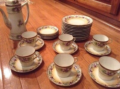 Vintage Nippon Chocolate Set Hand Painted Tea Coffee Set