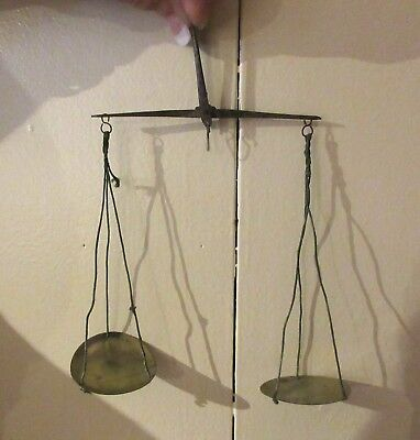 Antique 18th century hand-held coin scale + set of brass weights in a wooden box