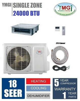 YMGI 24000 BTU Recessed Fan Coil Mini Split Air Conditioner Heat Pump 24EF
