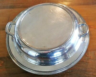 "Antique/vintage 2 Piece Silver Plated Serving Bowl - 11"" - Lid With Handles"