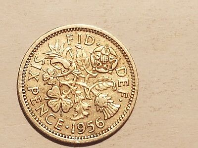 1956 British Sixpence Six pence coin UK Great Britain 6 pence