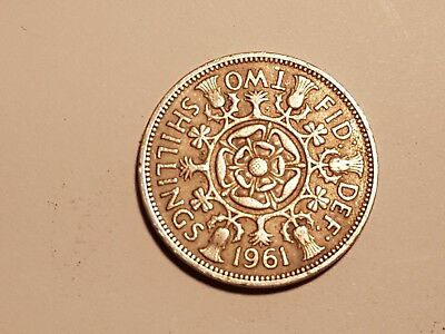 1961 British Two Shillings coin UK Great Britain 2 shillings