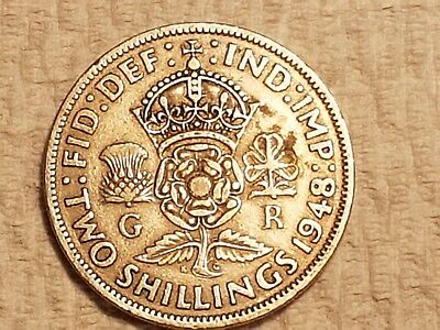 1948 British Two Shillings coin UK Great Britain 2 shillings