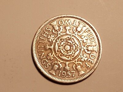 1957 British Two Shillings coin UK Great Britain 2 shillings