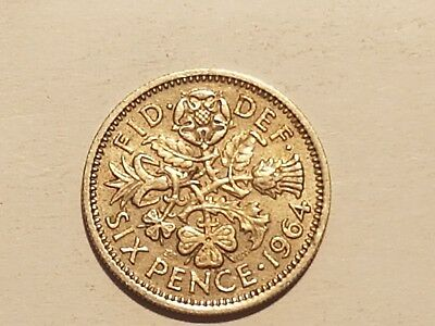 1964 British Sixpence Six pence coin UK Great Britain 6 pence