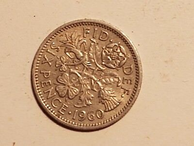 1960 British Sixpence Six pence coin UK Great Britain 6 pence