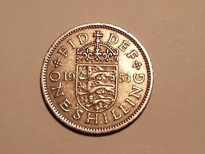 1953 British One Shilling coin UK Great Britain 1 shilling