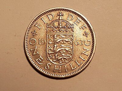 1963 British One Shilling coin UK Great Britain 1 shilling