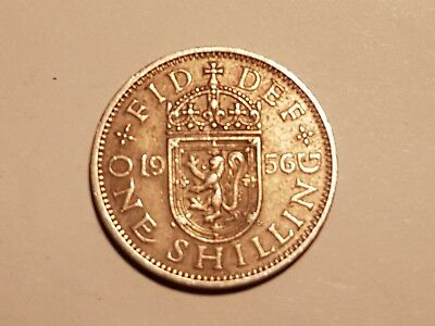 1956 British One Shilling coin UK Great Britain 1 shilling