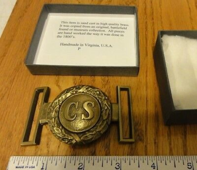 Civil war confederate belt buckle CS tongue & wreath belt plate Reproduction
