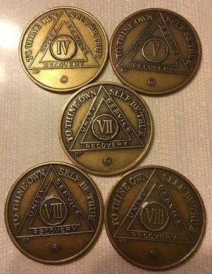 AA Medallion Alcoholics Anonymous Sobriety Chip Bronze Coin 4,5,7 & (2) 8 year