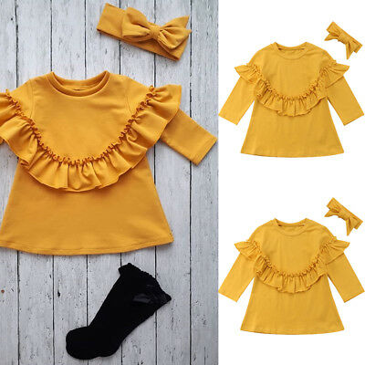 Newborn Baby Girls Warm Casual Clothes Long Sleeve T-shirt Tops+Headband Outfits