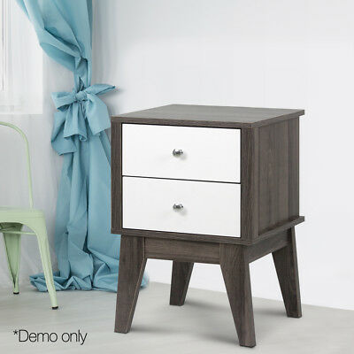 Retro Vintage 2 Drawers Bedside Table Wooden Nightstand Lamp Bed Side Storage