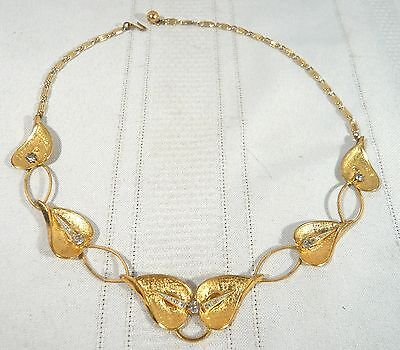 Signed TRIAD Vintage Necklace Gold Leaves Rhinestones 17 1/2""