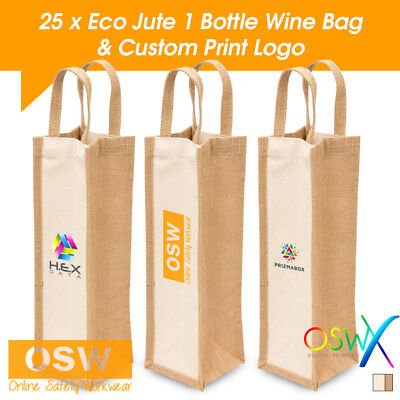 25 X Custom/personalised Present Gift Natural/cream Eco Jute Canvas Wine Bags