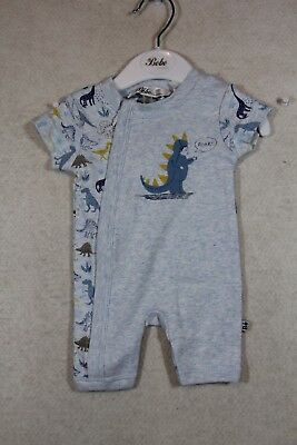 Baby Boy Size 00000,0 Bebe Summer Blue Marle Zipped Romper NWT