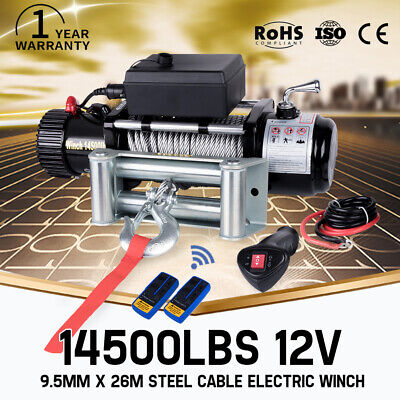 Wireless 12V Electric Winch Steel Cable 14500LBS vs 12000LBS 12Volt 4WD Recovery