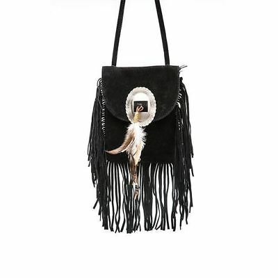 Pu Leather Tassel Decorated Solid Color Casual Shoulder Bag For Women