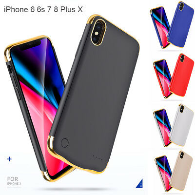3in1 Plating Power Pack Bank Battery Charger Case for iPhone 6 7 8 X / Xs 2018