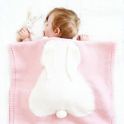 Baby Cute Shower Rabbit Knitted Blanket Kids Ear Nap Blanket Child Bedding Quilt