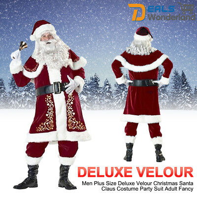Men's Christmas Santa Claus Deluxe Velour Costume Suit Party Fancy Dress