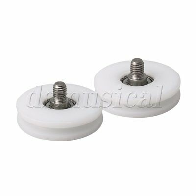 2pieces 50mm OD White 5x5mm Groove M8 Thread Rod Bearing Pulley Wheels
