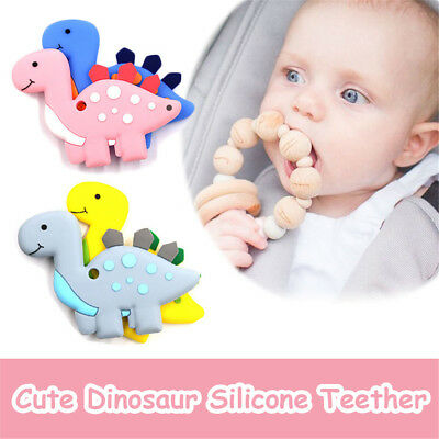Silicone Teething Toys Baby Teether Beads Chew Necklace Dinosaur Pendant Gifts.