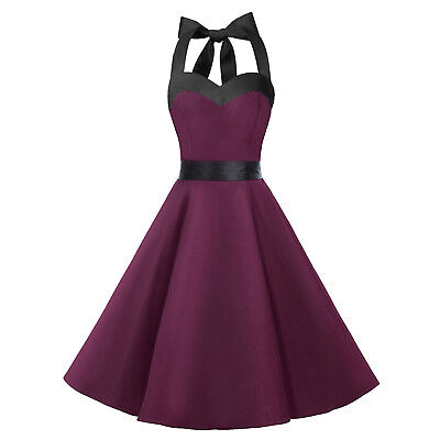 1950s Vintage Retro Rockabilly Pin Up Halter Dress Party Cocktail Swing Dresses