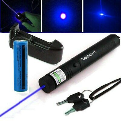 50Miles Blue Violet Laser Pointer 405nm Lazer Pen Beam 18650 Battery Charger
