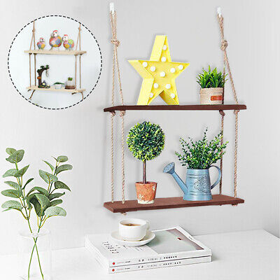 Rustic Solid Wood Rope Wall Shelf Hanging Storage display Floating Shelf UK