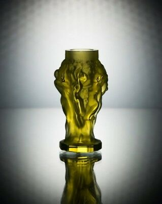 ART DECO Crystal Small Vintage Vase Czech Bohemian Hand Cut Glass Uranium Yellow