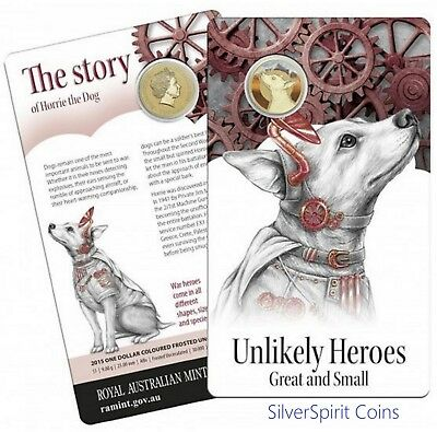 2015 $1 UNLIKELY HEROES HORRIE THE DOG Coin on Card