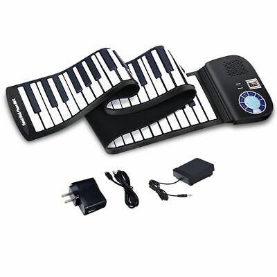 88 Key Electronic Roll Up Piano Keyboard Silicone Rechargeable Bluetooth w/Pedal