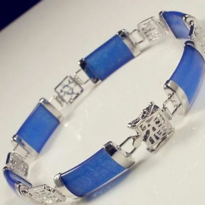 ESTATE FINE Tibet Solid silver Natural blue jade Jewelry bracelet 18cm