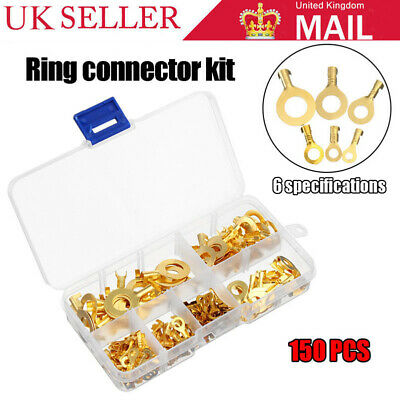 150*Brass Insulated Crimp Ring Terminals Wire Connectors Spade Electrical Kit JW