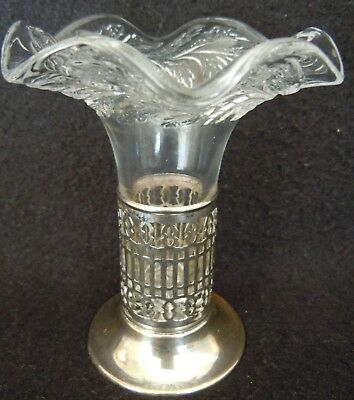 Antique Silverplate Bud Vase With Pressed Glass Insert Ruffled Edge Wagner Co?