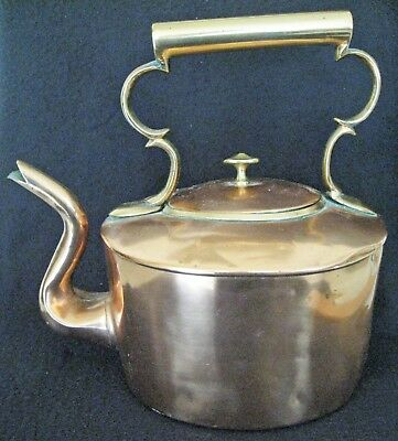 Antique Copper Brass Teapot Tea Kettle With Very Fancy Spout Great Display Item