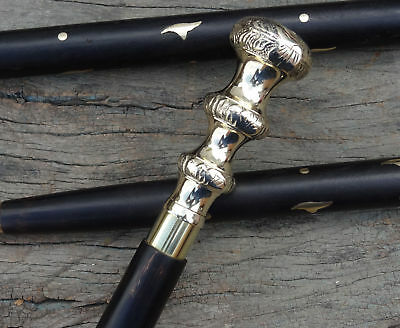 Victorian Brass Chrome Nickel Handle Best Wooden Vintage Walking Cane Stick Gift