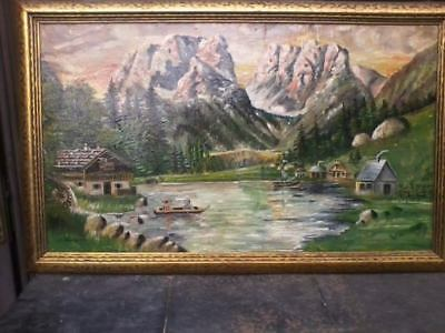 """Large Antique Oil Canvas Painting Landscape Weingartner 25"""" X 38"""" PICK UP ONLY"""