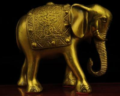 China antique old hand made brass propitious Elephant statue
