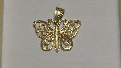 "14k kt 585 yellow gold pendant Charm Vintage Butterfly ""Ma"" Micheal Anthony"