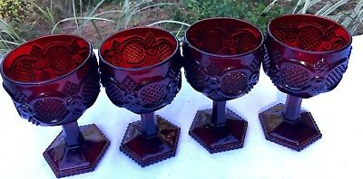 """Vintage Wine Glasses Ruby Red 1876 Cape Cod Collection 6"""" AVON Cranberry Glass 4"""