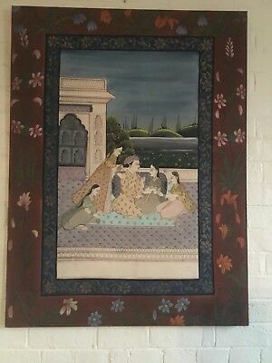 Large vintage hand painted Mughal painting on silk Indian