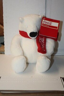 "9"" inch Authentic Coca-Cola Polar Bear w/Scarf Stuffed/Plush, White NEW WITH TAG"