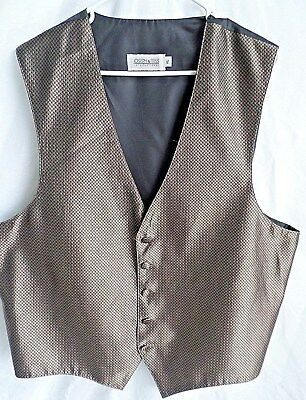 JOSEPH & FEISS Mens Vest Waistcoat Size XL Brown Brocade FIve Button Adjustable